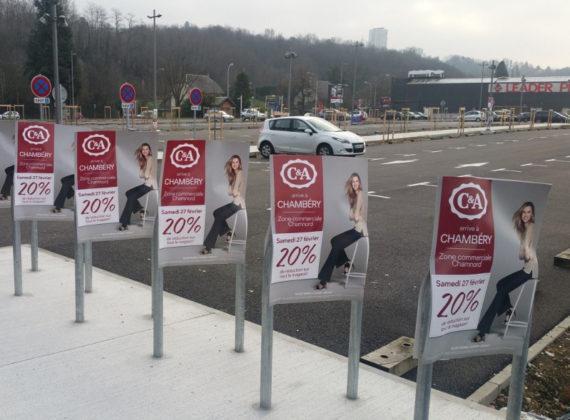 Affichage Board et street marketing pour C&A à Chambéry